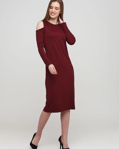 Трикотажное красное платье с открытыми плечами Alcott