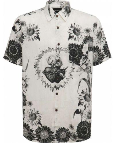 Biała koszula z printem The People Vs