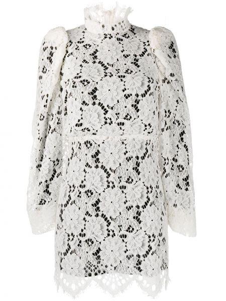 Ажурное платье мини с воротником на молнии со вставками Sandro Paris