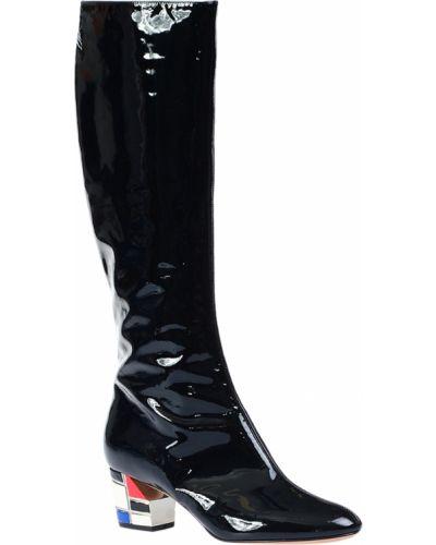 Кожаные сапоги лаковые черный Casadei