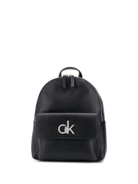 Черная кожаная сумка с карманами Calvin Klein