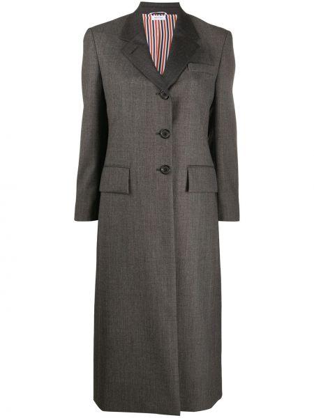 Серое шерстяное пальто с карманами Thom Browne