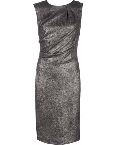 Драповое фиолетовое прямое платье миди с открытой спиной Alberto Makali