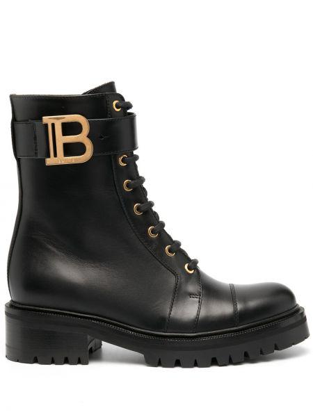 Кожаные ботинки на каблуке золотые на шнуровке с пряжкой Balmain