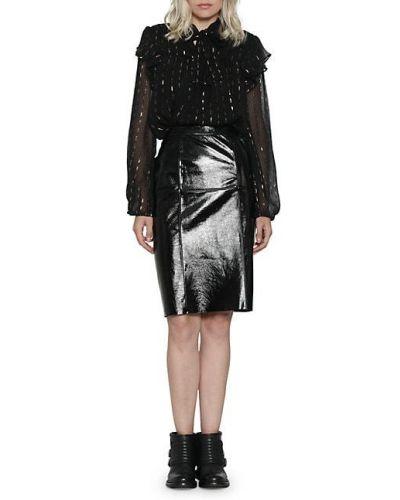 Приталенная черная кожаная юбка миди Walter Baker