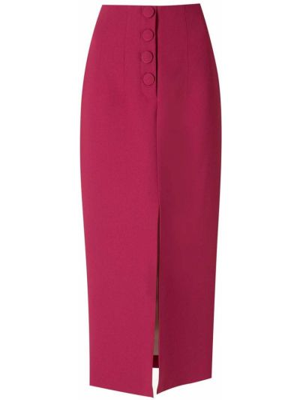 Красная прямая юбка миди на пуговицах Martha Medeiros