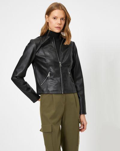 Кожаная куртка - черная Koton
