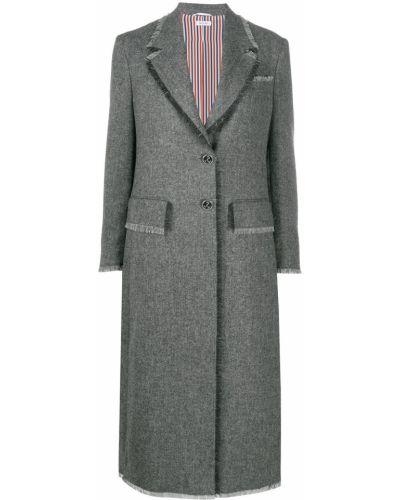 Шерстяное серое пальто на пуговицах с лацканами Thom Browne