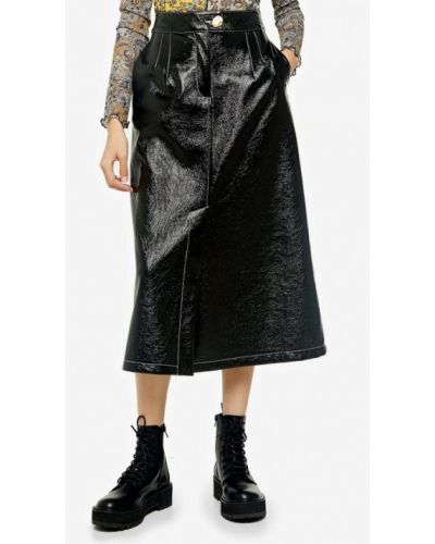 Кожаная юбка черная Topshop