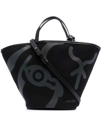 Черная сумка шоппер с принтом Kenzo