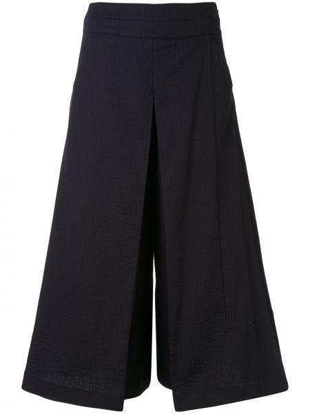 Хлопковые синие плиссированные свободные брюки со складками Palmer / Harding