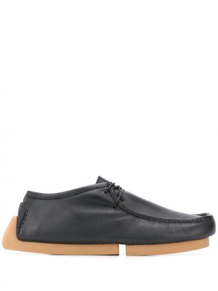 Кожаные черные кожаные ботинки на шнуровке квадратные Bottega Veneta