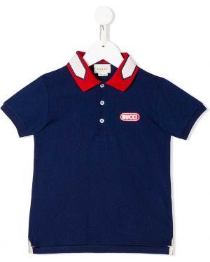 Синяя рубашка в рубчик на пуговицах из вискозы Gucci Kids