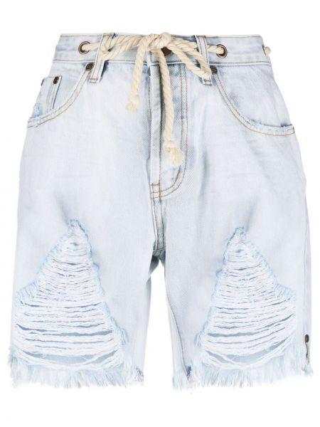 Синие хлопковые джинсовые шорты с бахромой One Teaspoon