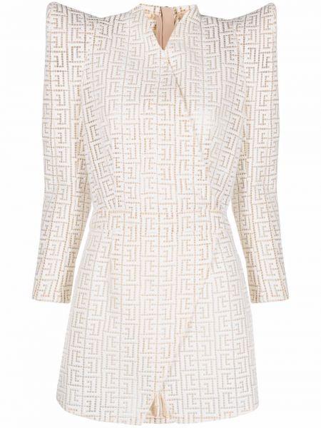 Шелковое белое платье мини с запахом Balmain