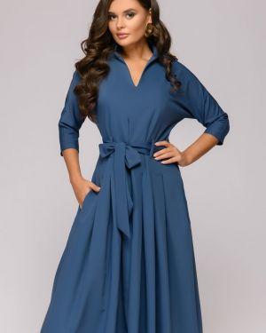 Повседневное платье с поясом со складками 1001 Dress