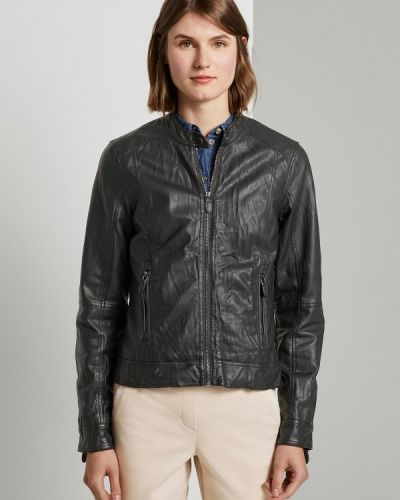 Кожаная куртка - черная Tom Tailor