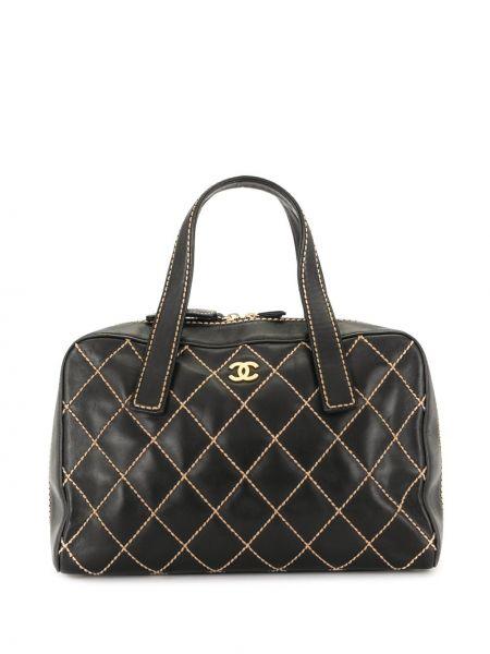 Золотистая черная стеганая сумка-тоут на молнии Chanel Pre-owned