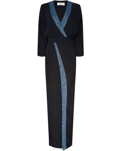 С рукавами черное платье мини с запахом Laroom