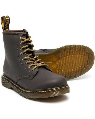 Массивные кожаные коричневые ботинки на шнуровке Dr. Martens Kids