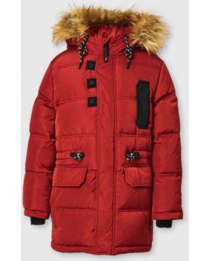 Коричневая теплая куртка на молнии с перьями Ostin