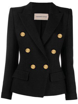 Черный удлиненный пиджак двубортный с карманами Alexandre Vauthier