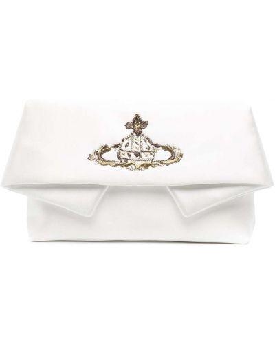 Biała złota kopertówka z haftem Vivienne Westwood