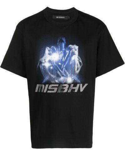 Прямая хлопковая черная футболка Misbhv