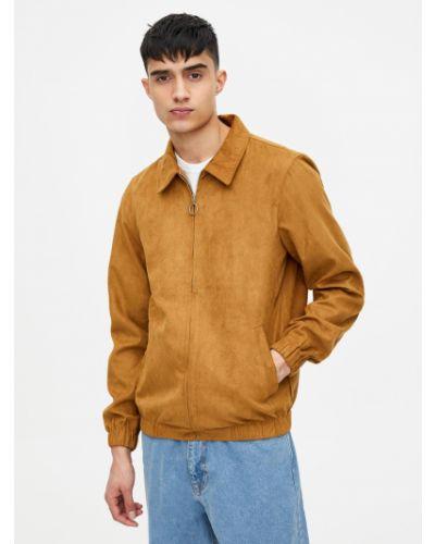 Бежевая кожаная кожаная куртка Pull & Bear