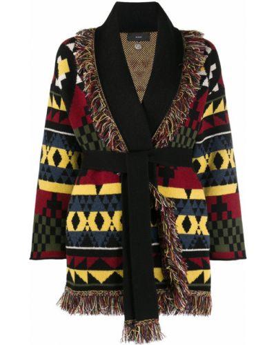 Черное кашемировое длинное пальто с вырезом Alanui