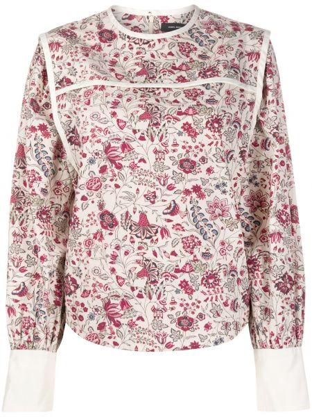 Bawełna jedwab bluzka z długim rękawem z długimi rękawami okrągły dekolt Isabel Marant