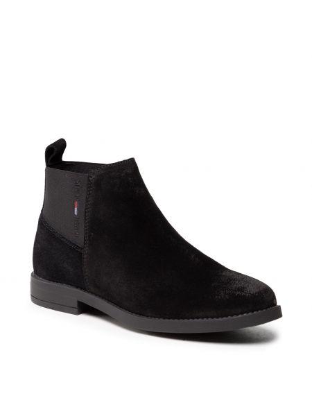 Czarne kozaki skorzane Tommy Jeans