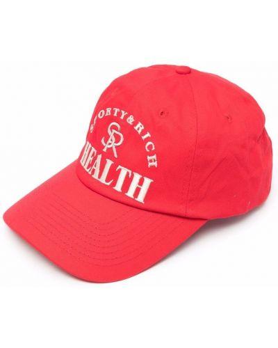 Хлопковая красная кепка с вышивкой Sporty And Rich