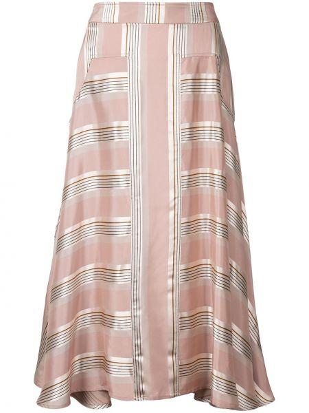 Приталенная расклешенная розовая юбка из вискозы Palmer / Harding