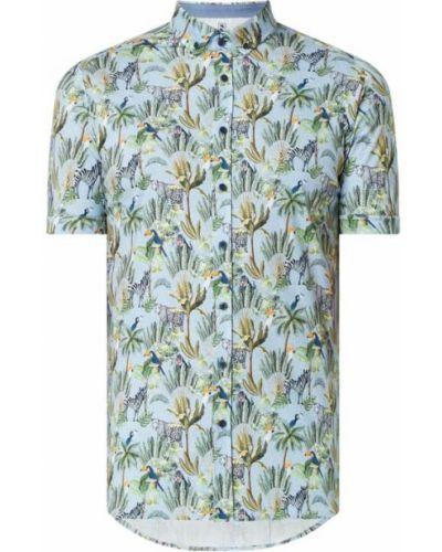 Zielona koszula slim krótki rękaw bawełniana Desoto