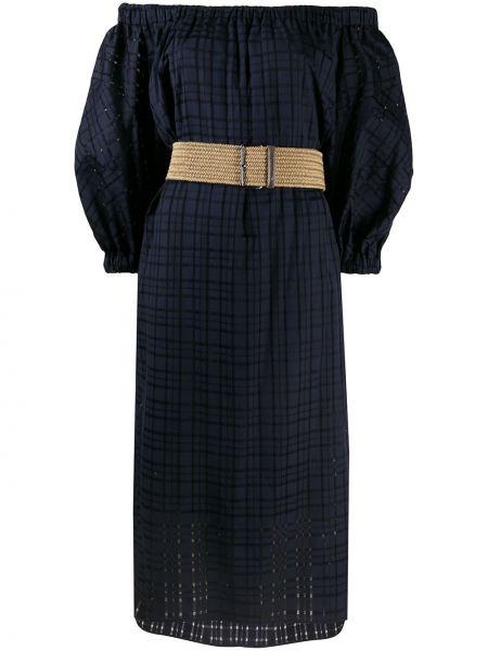 Открытое синее платье миди в клетку Brunello Cucinelli