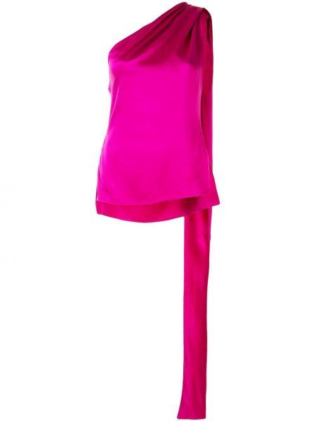 Шелковая фиолетовая прямая блузка без рукавов без рукавов Adam Lippes