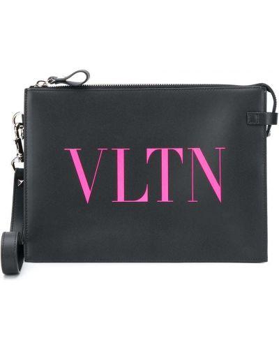 Z paskiem czarny torba sprzęgło z prawdziwej skóry z łatami Valentino Garavani