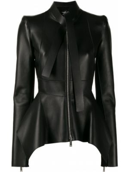 Асимметричная черная куртка на молнии из вискозы Dsquared2