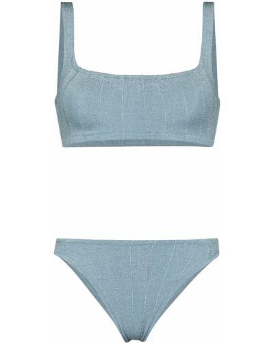 Prążkowany niebieski klasyczny bikini Hunza G