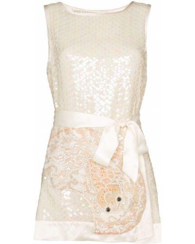 Бежевое платье мини с пайетками винтажное с вырезом One Vintage