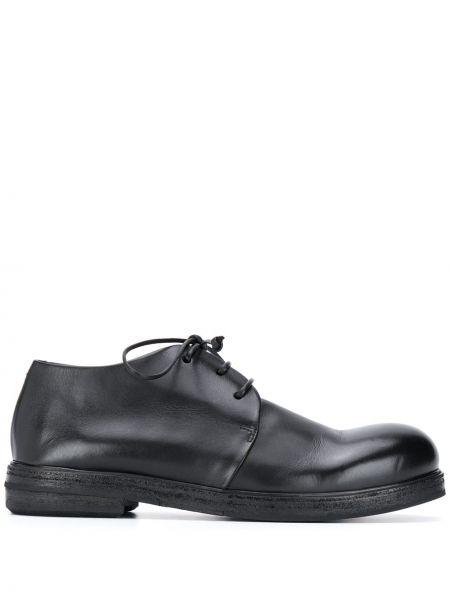 Koronkowa czarny buty brogsy na sznurowadłach z prawdziwej skóry Marsell