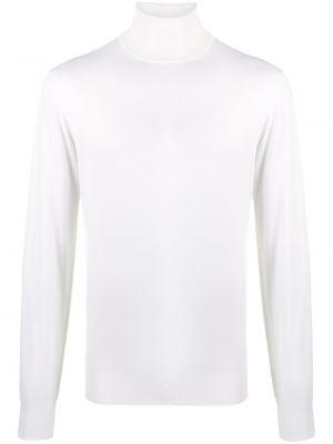 С рукавами шерстяной белый свитер в рубчик Dell'oglio