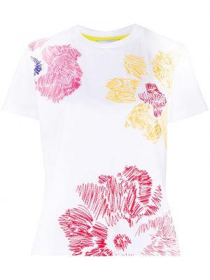 Белая футболка с вышивкой из вискозы с круглым вырезом Mira Mikati