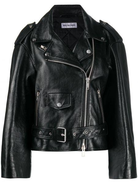 Skórzany czarny kurtka z mankietami z kieszeniami Balenciaga