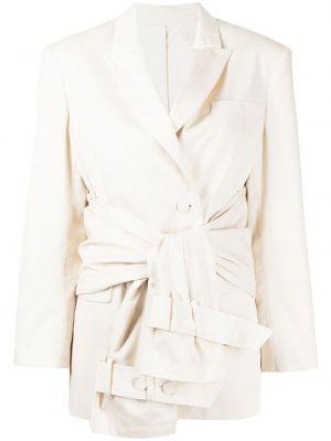 Однобортный белый классический пиджак с поясом Rokh