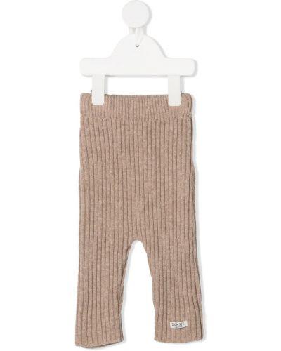 Prążkowane beżowe spodnie Donsje
