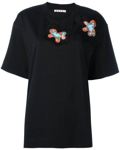 Свободная футболка стрейчевая с цветочным принтом прямая Marni
