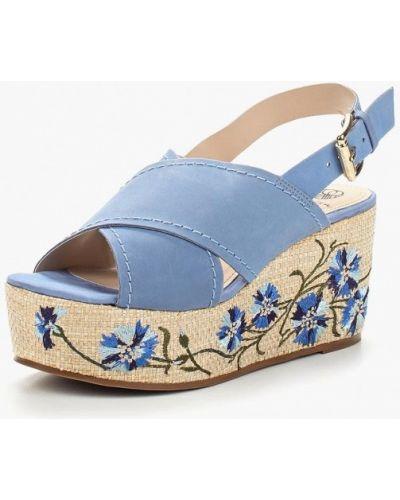 Голубые босоножки на каблуке Ekonika