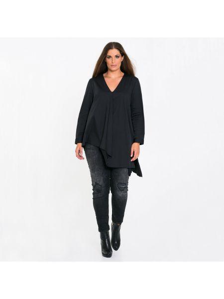 Черная блузка с длинным рукавом с вырезом оверсайз с длинными рукавами Mat Fashion